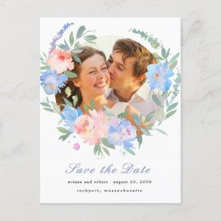 Blue Pink Floral Wreath Wedding Save the Date Announcement Postcard