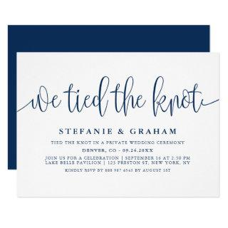 Blue Pretty Calligraphy We Tied The Knot Wedding Invitation