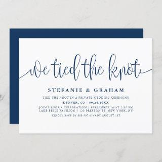 Blue Pretty Calligraphy We Tied The Knot Wedding Invitations