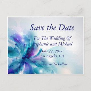 Blue & Purple Abstract Floral Save the Date-1 Announcement Postcard