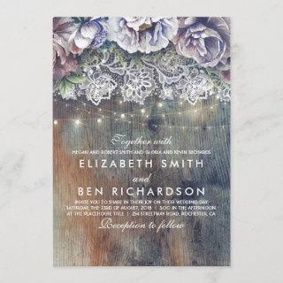 Blue Purple and Plum Vintage Floral Lace Wedding Invitations