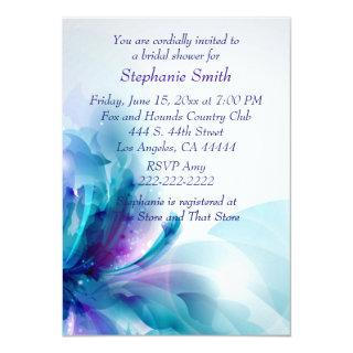 Blue Purple Floral Design Bridal Shower Invitations
