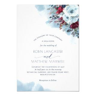 Blue, Purple, Red Floral Celestial Blooms Wedding Invitation