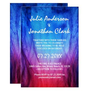 Blue & Red Fire Flames Wedding Invitations Template