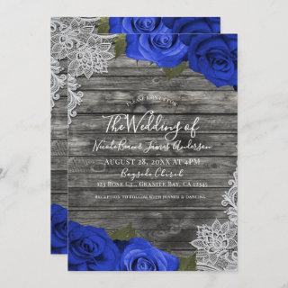 Blue Roses Rustic Wood White Lace Wedding Invitations