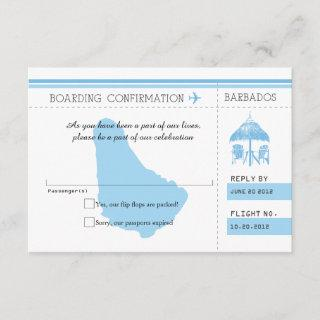 Blue RSVP Boarding Pass TO BARBADOS