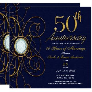 Blue Sapphire & Gold Diamond 50 50th Anniversary Invitations