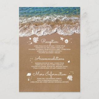 Blue Sea Waves and Sand Beach Wedding Information Enclosure Card