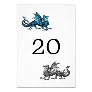 Blue Silver Dragon Wedding Table Card