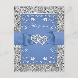 Blue Silver Floral Hearts FAUX Foil Wedding RSVP