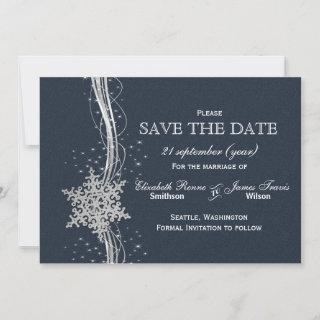 Blue Silver Snowflakes Winter  save the date