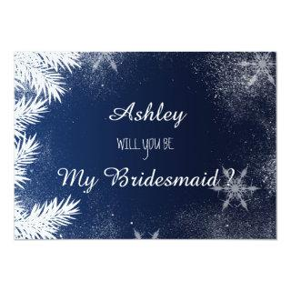 Blue Snowflake Winter Will you be my bridesmaid Invitation