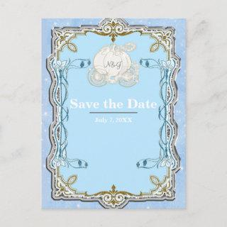 Blue Sparkle Carriage Cinderella Save the Date Announcement Postcard