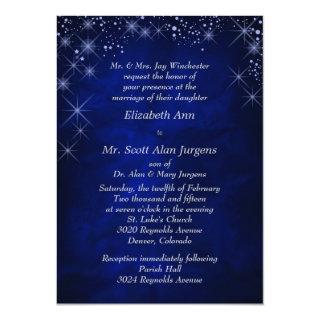 Blue Starry Night Formal Wedding Invitations