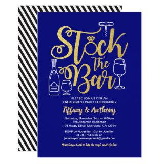 Blue Stock the bar invitation engagement party