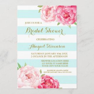 Blue Stripes Pink Watercolor Flowers Bridal Shower Invitations