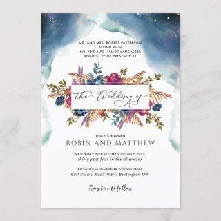 Blue, Teal and Purple Celestial Floral Wedding Inv Invitation