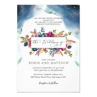 Blue, Teal and Purple Celestial Floral Wedding Inv Invitations