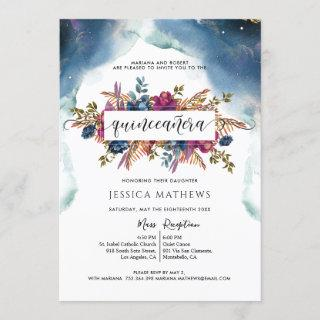Blue, Teal, Purple and Fuchsia Elegant Quinceañera Invitation