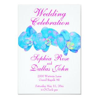 Blue Teal watercolor orchids Invitations