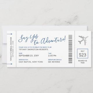 Blue Travel Theme Bridal Shower Boarding Pass Invitation