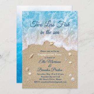 Blue Two Less Fish in the Sea Engagement Party Invitations