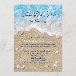 Blue Two Less Fish in the Sea Post Wedding Invitations