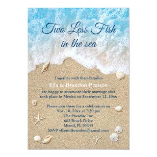Blue Two Less Fish in the Sea Post Wedding Invitation