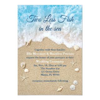 Blue Two Less Fish in the Sea Wedding Invitations