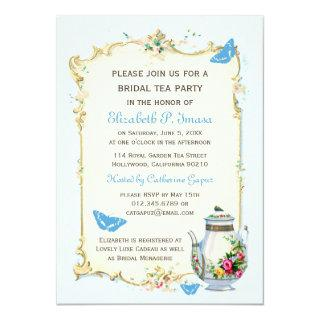 Blue Vintage French Bridal Tea Party Invitations