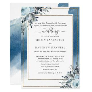 Blue Watercolor and Blue Floral, Parents Hosting Invitations