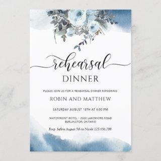 Blue Watercolor and Blue Floral Rehearsal Dinner