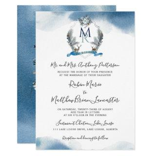 Blue Watercolor, Crest and Blue Floral Wedding Invitations