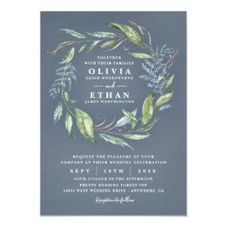 Blue Watercolor Eucalyptus Greenery Wreath Wedding Invitations