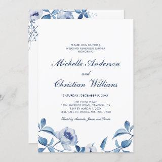 Blue Watercolor Floral Rehearsal Dinner Invitations