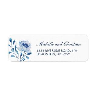Blue Watercolor Floral Wedding Return Address Label