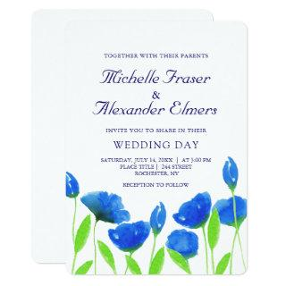 Blue watercolor flowers wedding. Floral Invitations