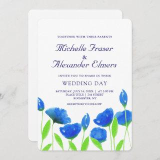 Blue watercolor flowers wedding. Floral Invitation