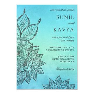 Blue Watercolor Henna Indian Wedding Invitations