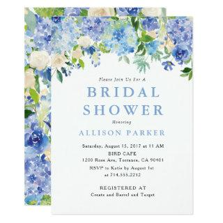 Blue Watercolor hydrangea Bridal Shower Invitation
