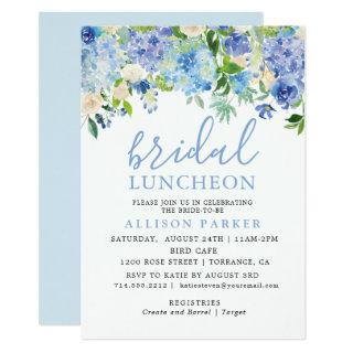 Blue Watercolor Hydrangea Floral Bridal Luncheon Invitations