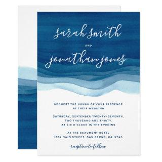 Blue Watercolor Waves & Script Wedding Invitations