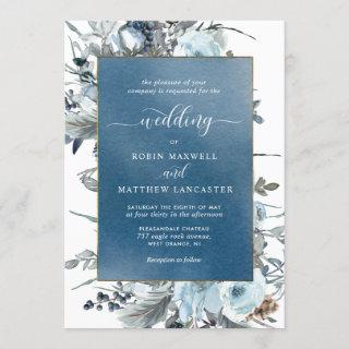 Blue Watercolor with Elegant Blue Floral Wedding Invitations