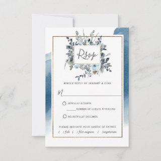 Blue Watercolor with/out Meal Choices RSVP Card