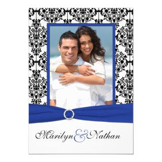 Blue, White, Black Damask Photo Wedding Invitations
