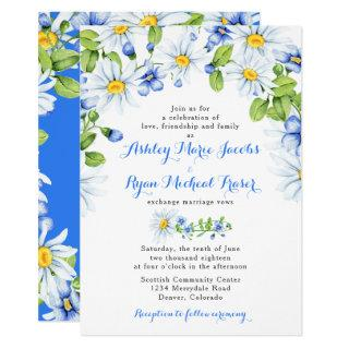 Blue White Daisy Floral Wedding Invitations