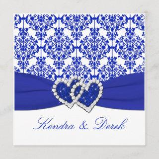Blue, White Damask Couples Shower Invitations