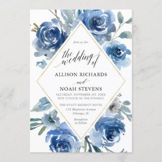 Blue white gold floral watercolor modern wedding