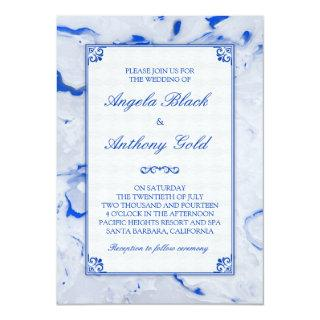 Blue White Marble Marbled Wedding Invitation