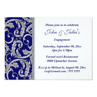 Blue white silver engagement anniversary CUSTOM Invitation